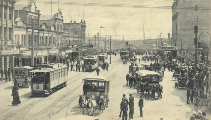 Lower Queen Street in Auckland, New Zealand in 1919