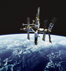 Russia's Mir space station is backdropped against Earth's horizon. Original from NASA . Digitally enhanced by rawpixel.
