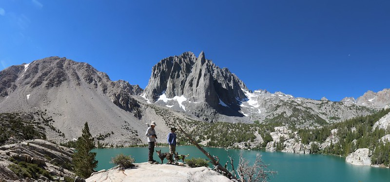 Obligatory posed shot at Second Lake with Temple Crag looking awesome in the background - panorama