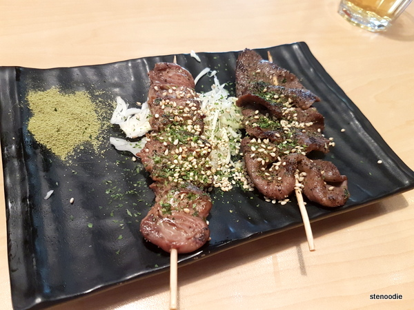 Chicken heart and beef tongue skewers