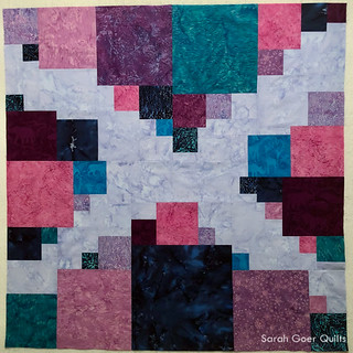 Planned Improv Scrappy Squares Island Batik quilt top