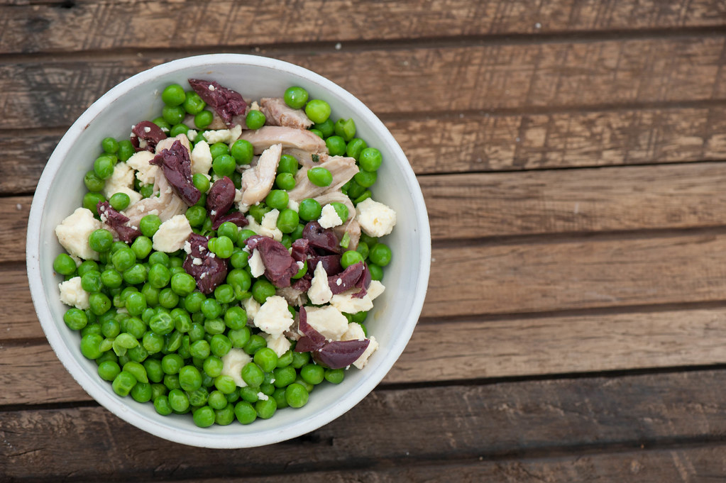 Big Pea Bowls with Goats Cheese & Olives