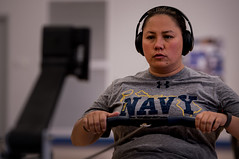 Master Chief Personnel Specialist Raina Hockenberry trains for the rowing competition in Colorado Springs, Colo., May 29, ahead of the DoD Warrior Games. (DoD/Staff Sgt. Carlin Leslie)