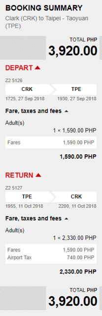 Clark to Taipei Promo September 27 to October 11, 2018
