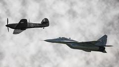 Polish Air Force tribute - Mig 29 & Hawker Hurricane flypast - RAF
