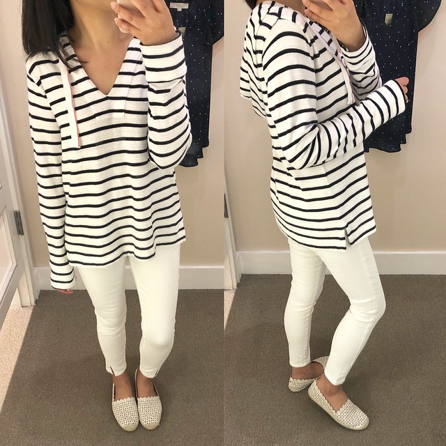 LOFT Striped Pullover Hoodie, size XS regular