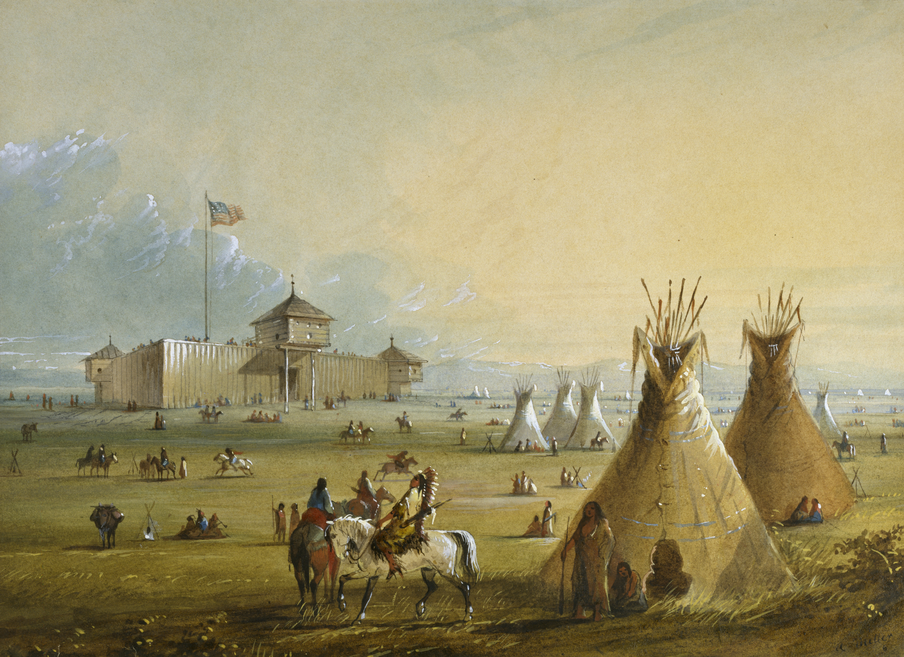 The first Fort Laramie as it looked before 1840 (painting from memory by Alfred Jacob Miller). Founded by William Sublette and Robert Campbell, Fort Laramie lay at the crossroads of an old north-south Indian trail and what became known as the Oregon Trail. Called Fort Laramie because of the nearby Laramie Mountains and the Laramie Fork of the North Platte River, the post was approximately 150 feet square, according to Miller, with bastions at the diagonal corners. Miller's paintings are the only known visual records of the fort, because the original fort was torn down in 1840 before any other artist had traveled the Oregon Trail; it was replaced with another structure, located perhaps on the same site in 1841. Alfred Jacob Miller (American, 1810-1874). 'Fort Laramie,' 1858-1860. watercolor on paper. Walters Art Museum (37.1940.49): Commissioned by William T. Walters, 1858-1860.
