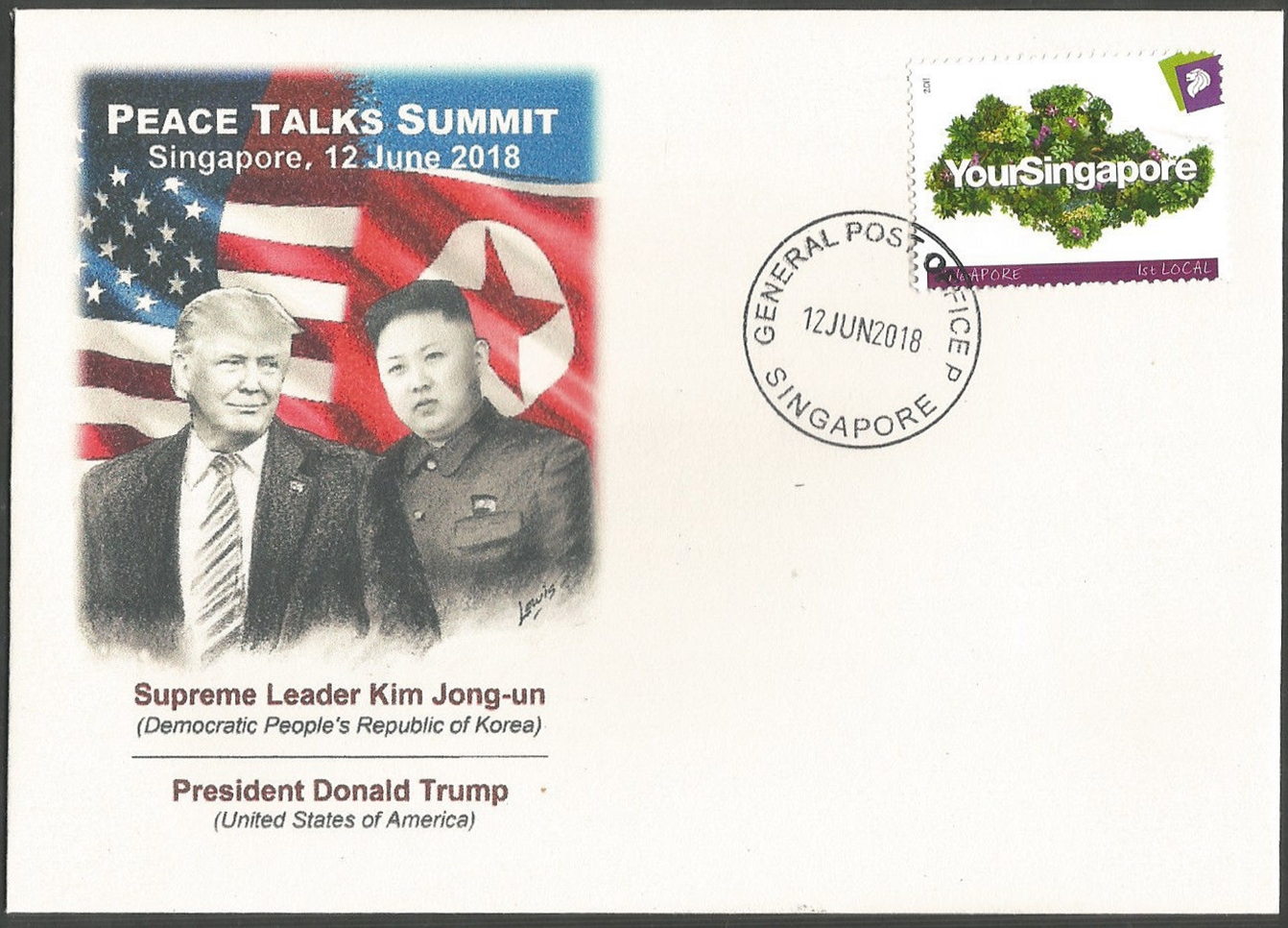 Philatelic cover marking the DPRK-USA Summit held in Singapore on June 12, 2018.