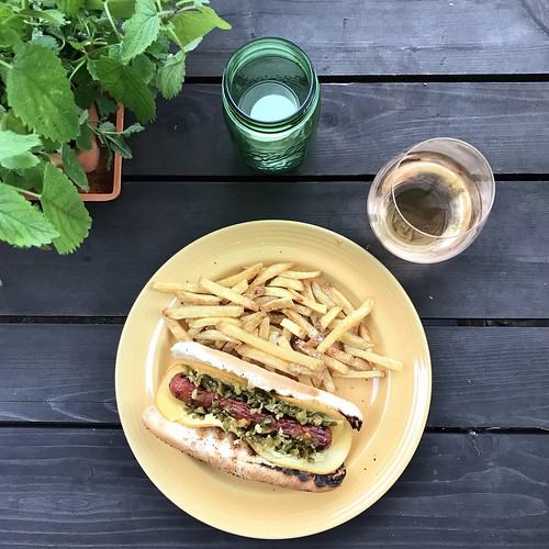 summertime patio eats #hotdogsandfrenchfries #patioeats
