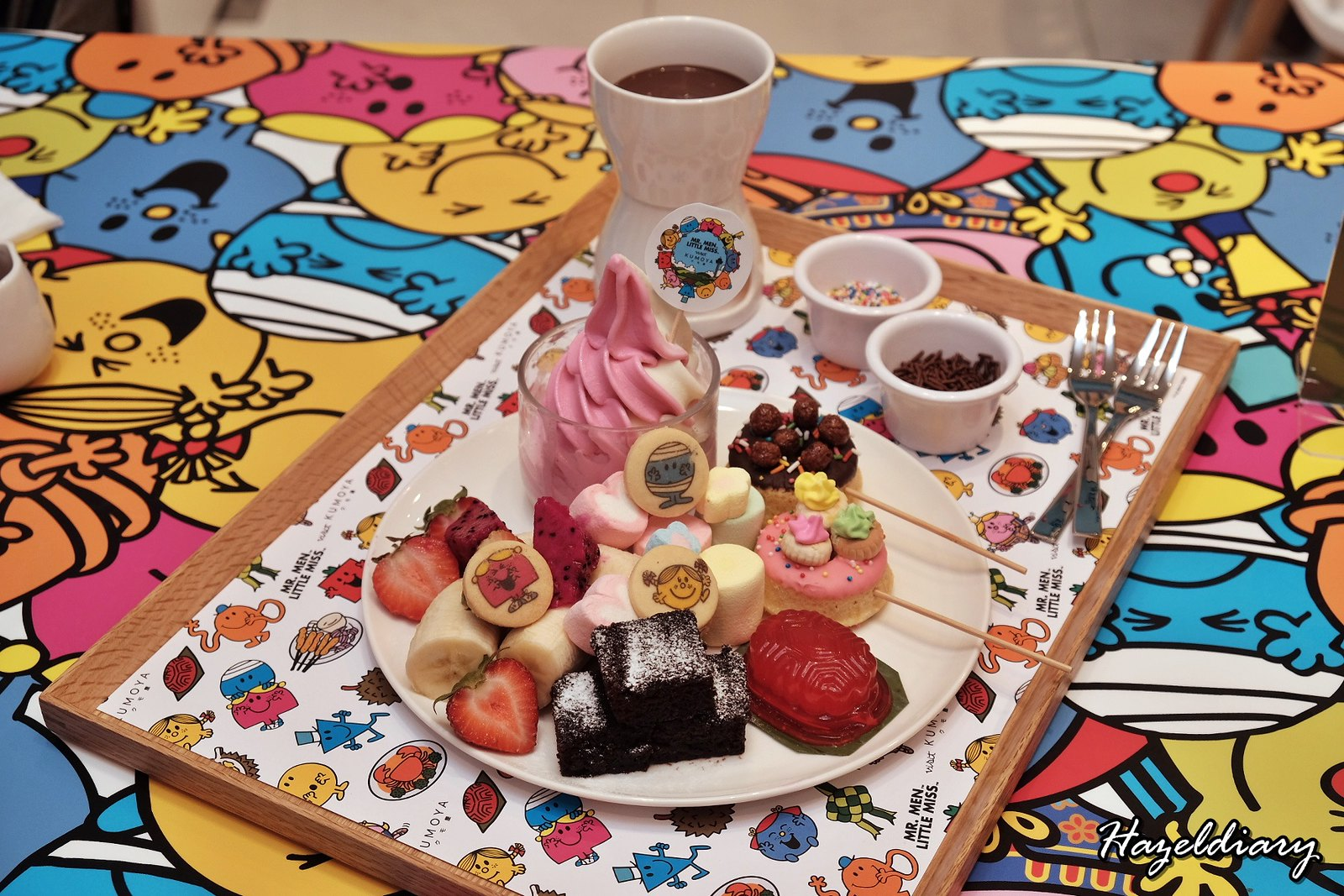 Kumoya Mr Men Little Miss-Mr Men and Little Miss Special Chocolate Fondue Platter