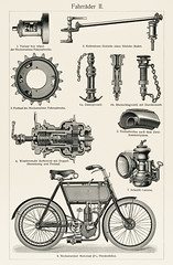 Fahrrader 2 (1894) from the German series, Meyers Konversations Lexikon, a black and white lithograph of different bicycle parts. Digitally enhanced from our own original lithographic plate.