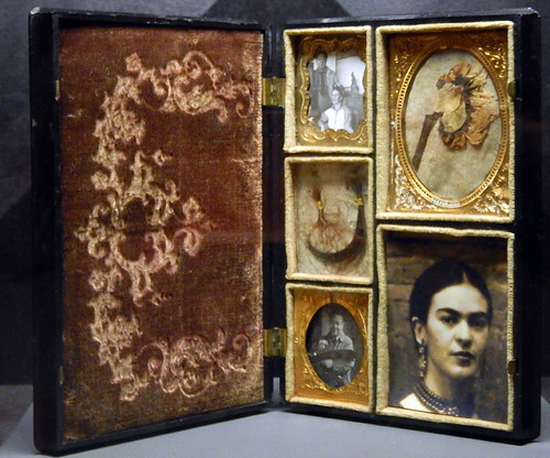 portrait of Frida Kahlo and her family displayed in a memory box