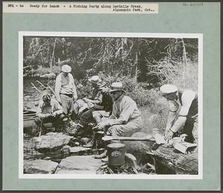 Ready for lunch. A fishing party along Lavieille Creek, Algonquin Park, Ontario / Prêts à casser la croûte. Un groupe de pêcheurs au ruisseau Lavieille, dans le parc Algonquin (Ontario)