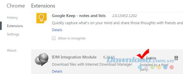 Cách bật, tắt IDM trên Chrome, Firefox, Internet Explorer