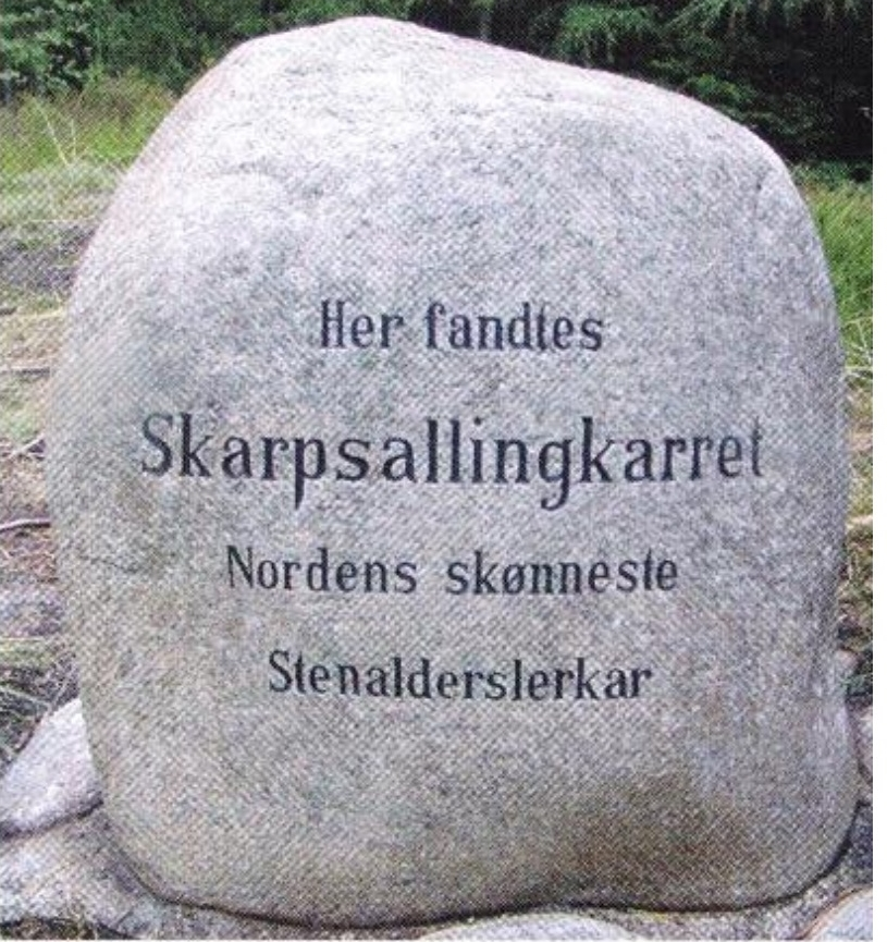 Stone marking the discovery of the Skarpsalling bowl in Denmark.