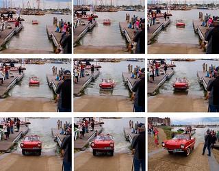 Amphicar comes ashore ( 1967 Amphicar 770 )