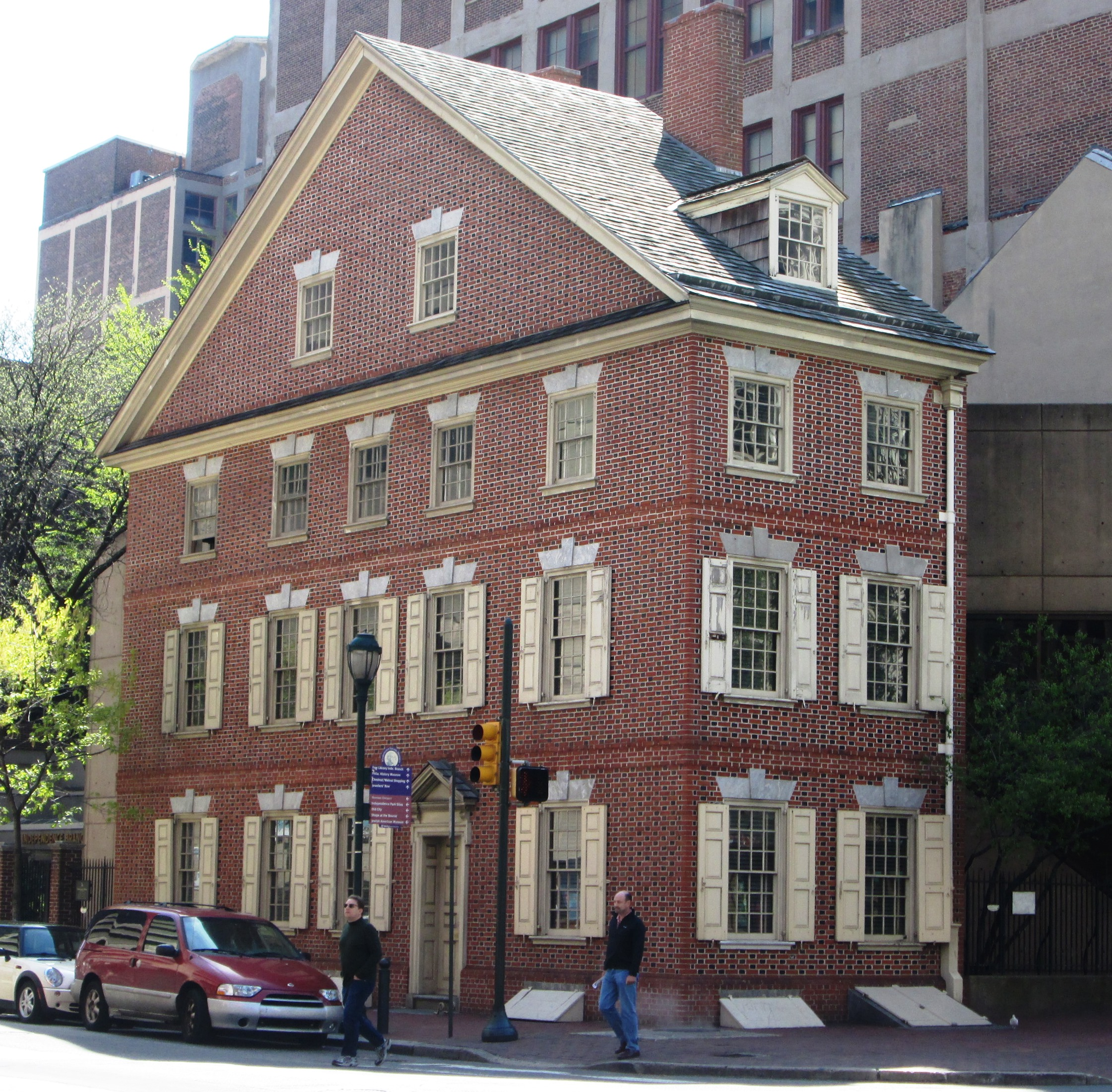 Declaration House or the Graff House at 700 Market Street at the corner of S. 7th Street in Center City, Philadelphia, is the boarding house in which Thomas Jefferson wrote the Declaration of Independence. Originally built in 1775 by Joseph Graff, Jr., a bricklayer, the building was reconstructed in 1975, and is now part of Independence National Historical Park. Photo taken on April 21, 2013.