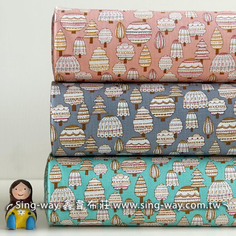棉花糖樹 可愛少女風 棉花糖 樹木 重複圖案 束口袋 化妝包 手工藝DIy拼布布料 CF550684