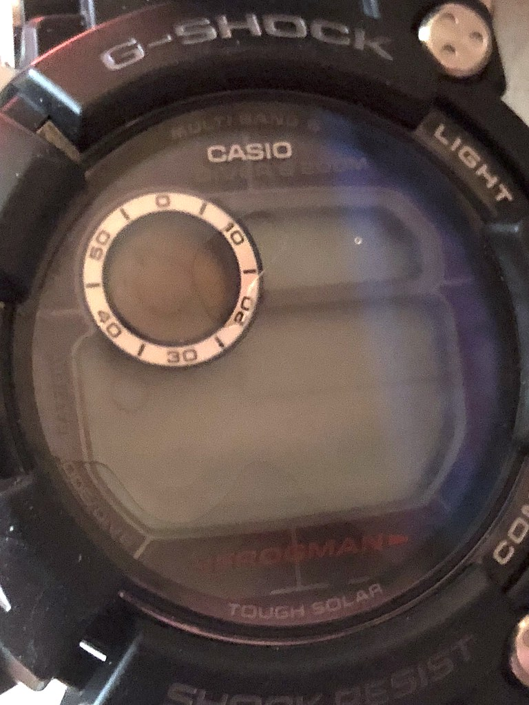 Casio G-Shock Frogman GWF-D1000 defeated by hand washing clothes in a basin. Redefines toughness and 200M water resistance. Just out of warranty