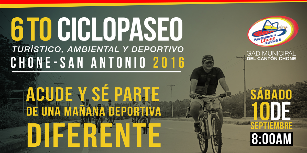 El sábado será el 6to ciclopaseo deportivo turístico y ambiental Chone La Segua
