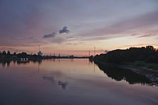 Sonnenuntergang über der Süderelbe