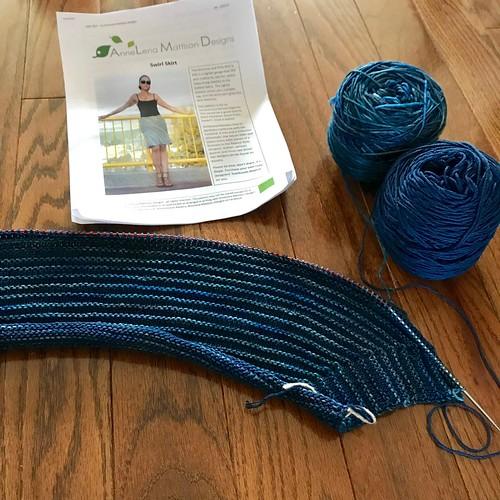 Progress on my Swirl Skirt that I am knitting for the Skirt Knit-Along!