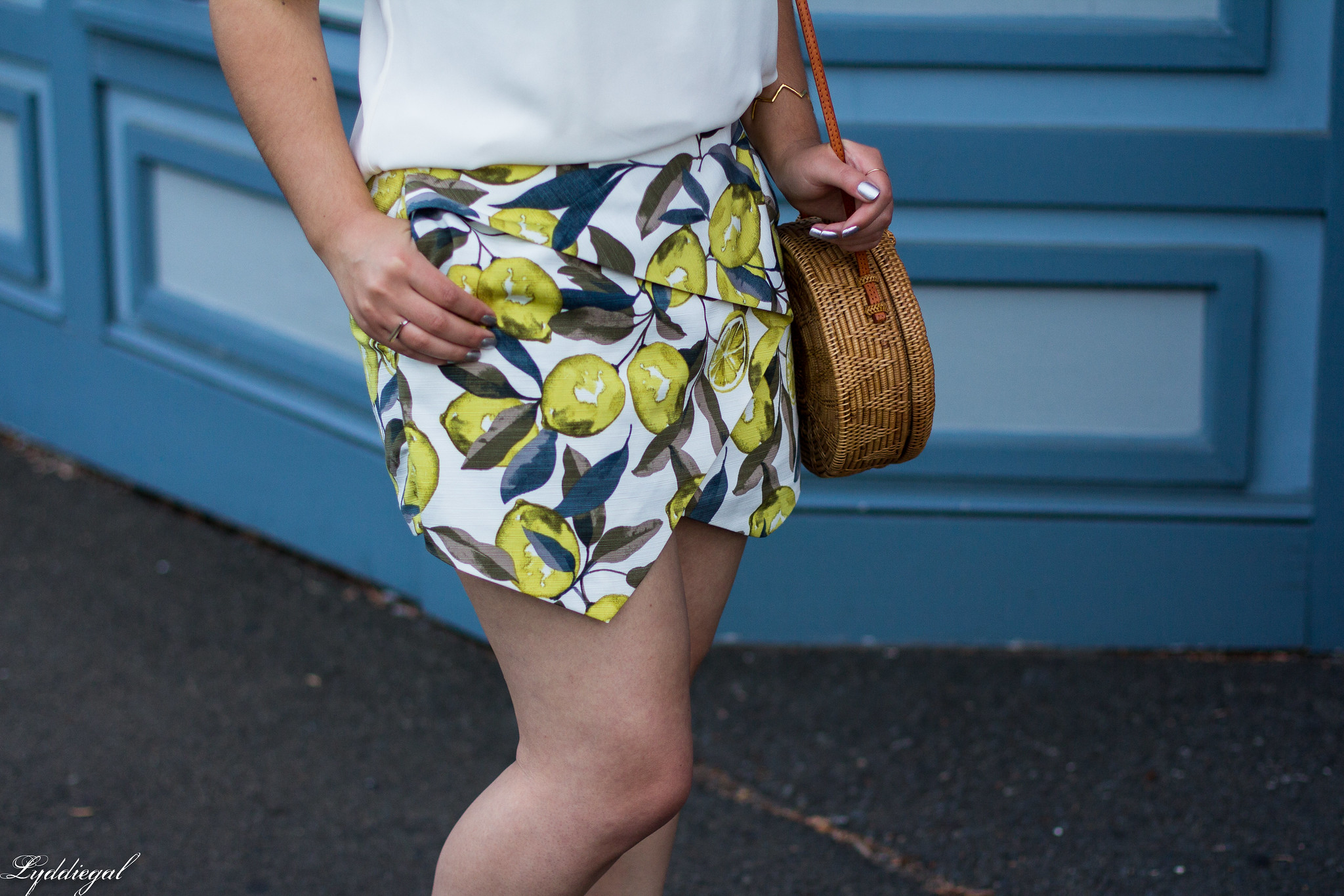 Lemon print skort, scalloped cami, round straw bag, ferragamo slides-9.jpg
