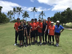 Hawaiian Electric's 2018 AUW Golf Tournament – June 11, 2018: Campbell High School's golf team joined us to hit drives for participants.