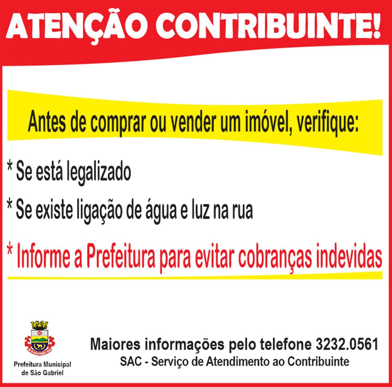 Atenção contribuinte - Prefeitura de São Gabriel