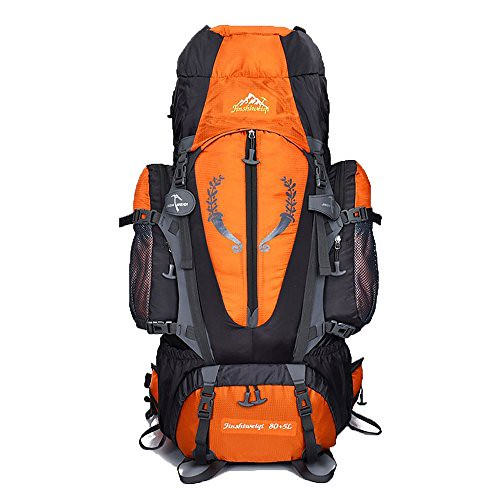 Cheap 80 L + 5 L Internal Frame Backpack Outdoor Waterproof Backpack Climbing Fishing Rucksack Hiking Daypack Camping Outdoor Trekking Mountaineering Bag ( Orange )