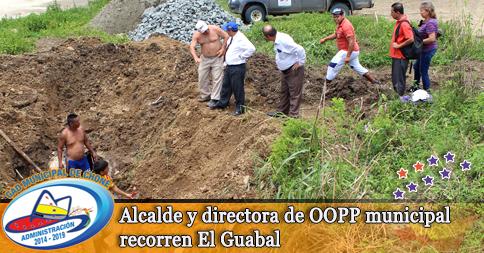 Alcalde y directora de OOPP municipal recorren El Guabal