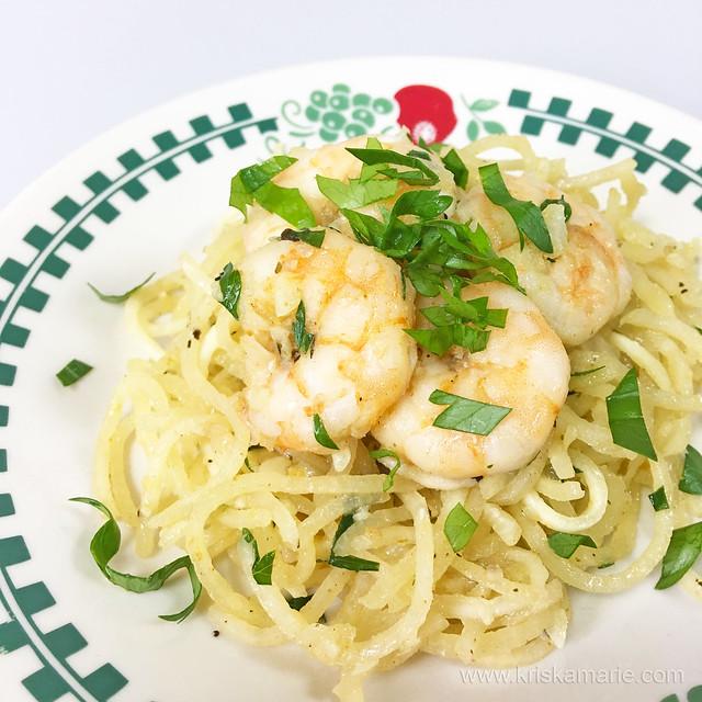 Shrimp Scampi with Sweet Potato Noodles 1