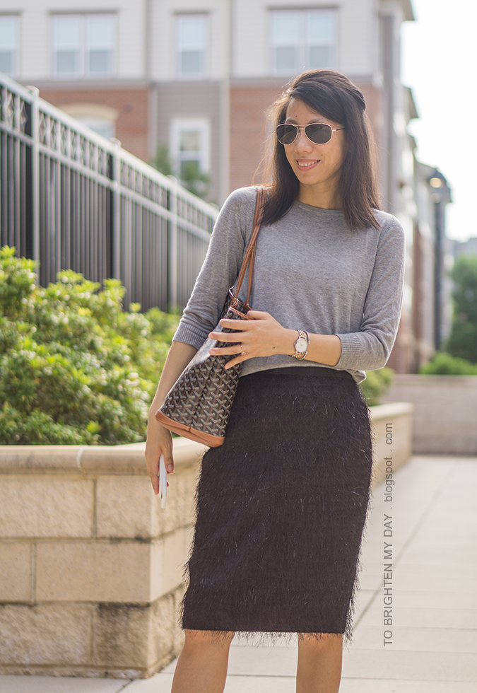gray button back sweater, two tone watch, silver cuff, patterned tote, black fringe pencil skirt