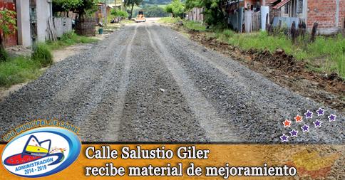 Calle Salustio Giler recibe material de mejoramiento