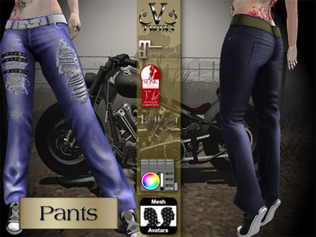 V-Twins Biker Clothes – Individual Items Mesh Pants/Jeans – True Grit Blue Version (Slink, Belleza & Maitreya)