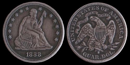 1888-S Quarter circulation cameo