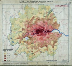 Map of the density of bombing, London region, to October 1941 (HO193/45)