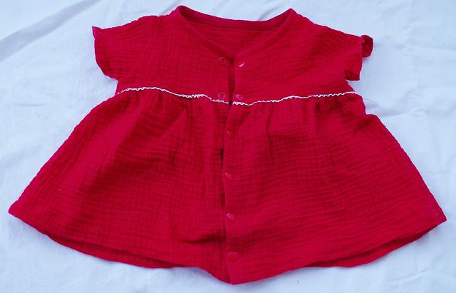 blouse double gaze rouge dentelle
