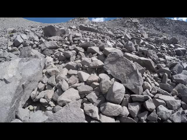 1262 First-Person GoPro video as I climb up the giant talus field on the way to the saddle east of Cloudripper