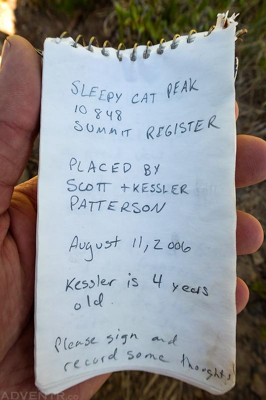 Sleepy Cat Peak Register