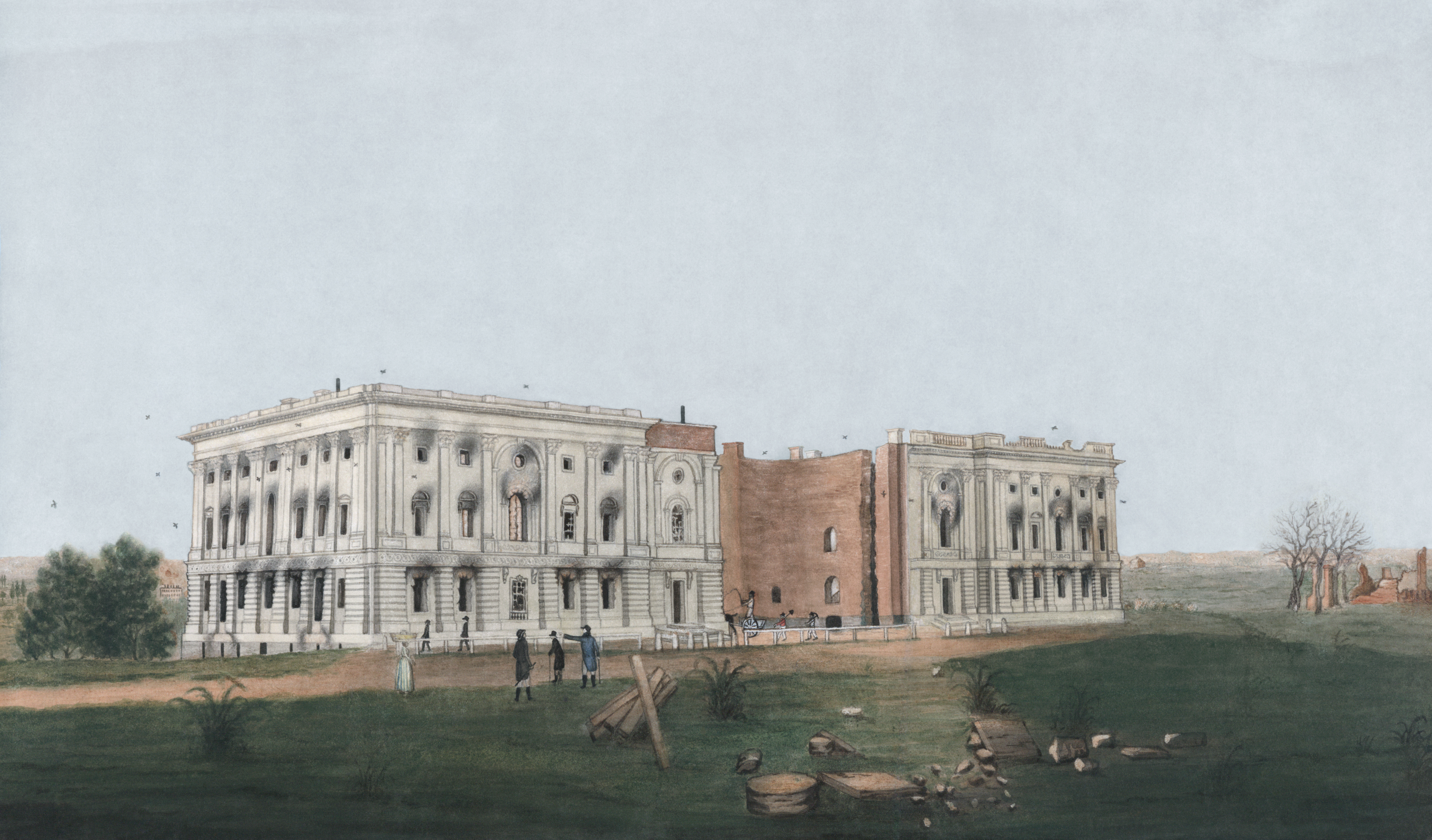 The United States Capitol after the burning of Washington in the War of 1812. Watercolor and ink depiction from 1814, restored.