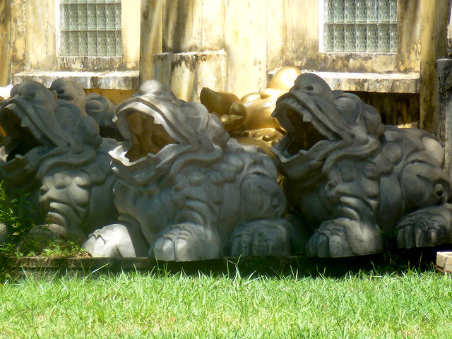 large Frog Statues in the imperial city at Hue, central Vietnam