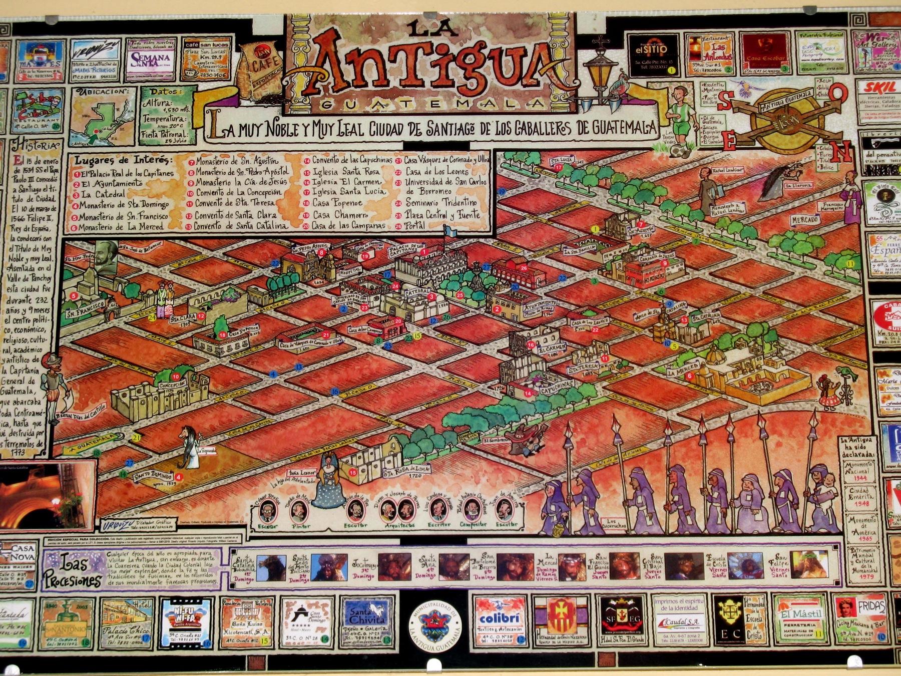 Map of Antigua Guatemala