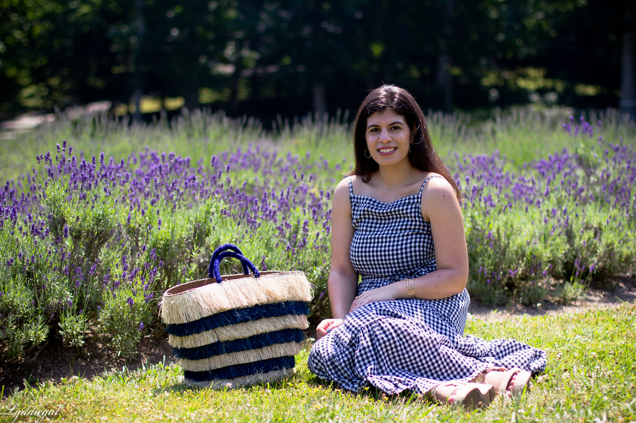 gingham maxi dress, pinata tote bag, lavender field-15.jpg