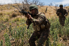 A Tongan Marine advances towards an objective during a live-fire training event during Rim of the Pacific exercise at Pohakuloa Training Area