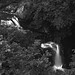 fine art black & white view of the falls on the River Braanin well past Ossian Hall, The Hermitage Pleasure Ground, Dunkeld, Perth & Kinross, Scotland