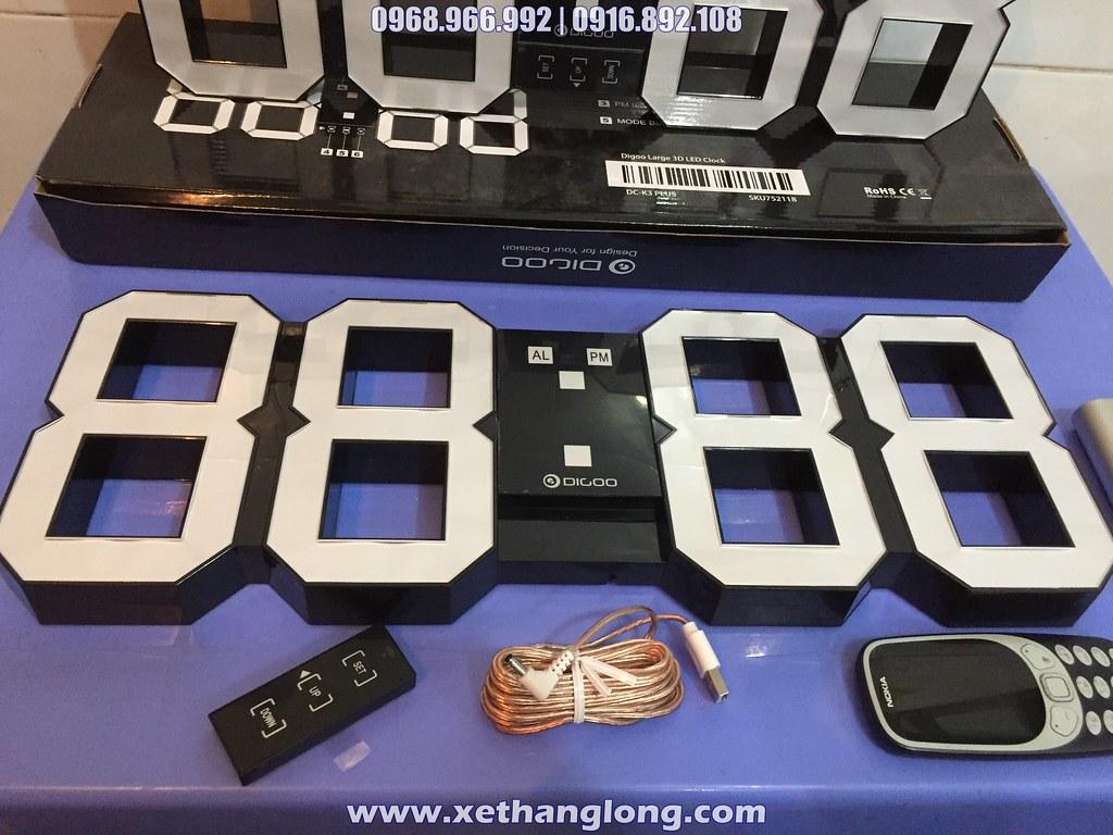 Đồng hồ LED 3D treo tường khổ lớn - Kích thước 20'