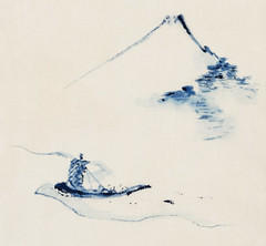 A Person in a Small Boat on a River with Mount Fuji in the Background by Katsushika Hokusai published between 1830 and 1850. Digitally enhanced from our own original edition.