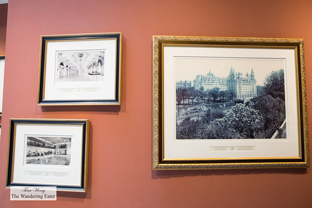 Foyer of old photographs of the hotel and its history