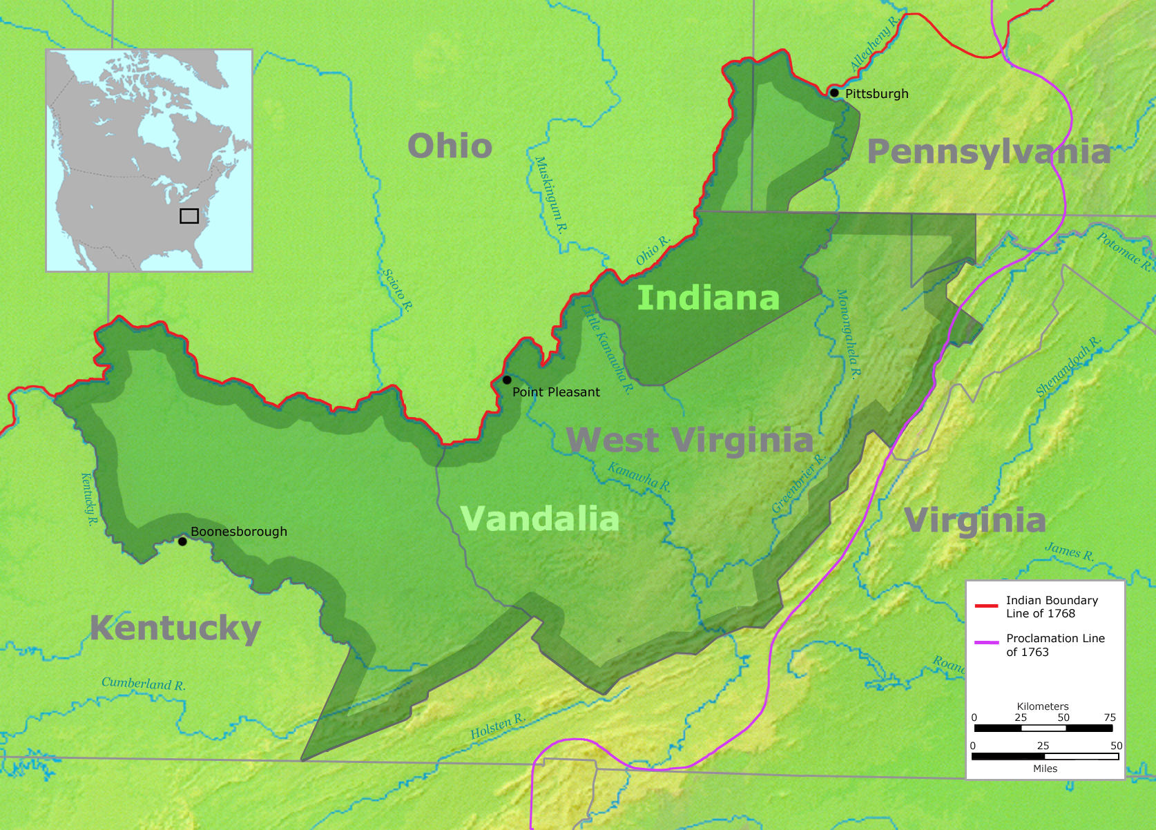 Vandalia was the name in the late 1700s of a proposed British colony in North America. The colony would have been located south of the Ohio River, primarily in what are now West Virginia and northeastern Kentucky.
